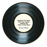 Black Vinyl Record Effect Announcement at Zazzle