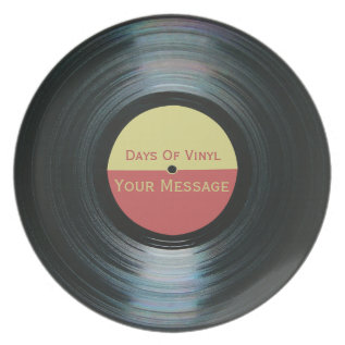 Black Vinyl Record Effect Days Of Vinyl On A Plate at Zazzle