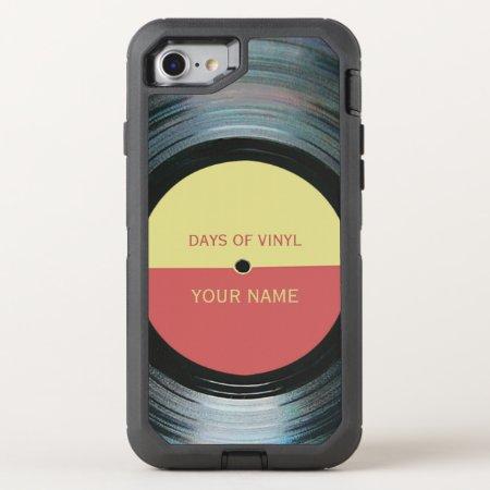 Black Vinyl Record Effect Otterbox Defender Iphone 7 Case