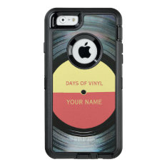 Black Vinyl Record Effect Otterbox Defender Iphone Case at Zazzle