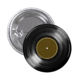 black vinyl record pinback button