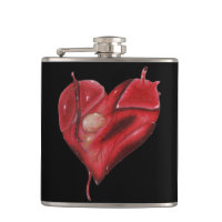Black Vinyl Wrapped Flask with Tattoo Heart