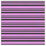 [ Thumbnail: Black & Violet Colored Stripes Fabric ]