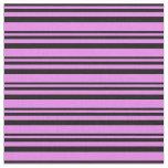 [ Thumbnail: Black & Violet Colored Stripes Fabric ]