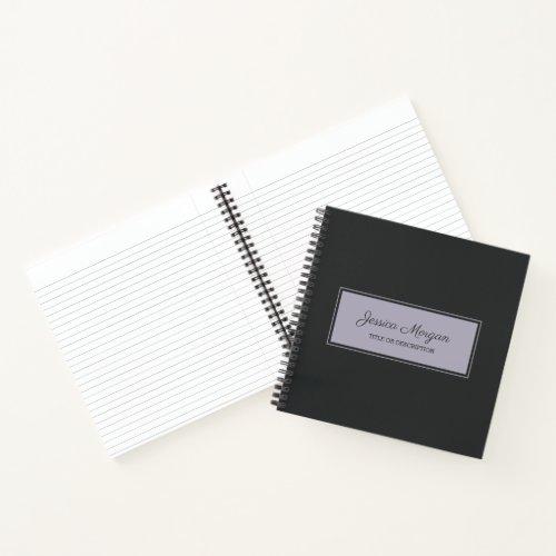 Black Violet Rectangle Frame Notebook