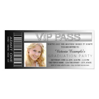 "Black VIP Pass Admission Ticket Graduation Party 4"" X 9.25"" Invitation Card"