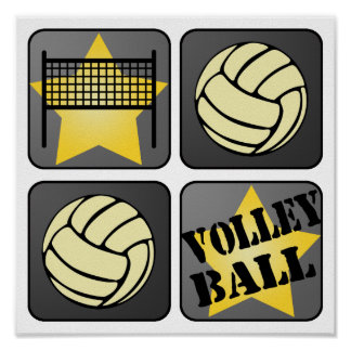 Black Volleyball Poster