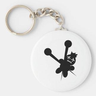 black voodoo doll needles torture key chain