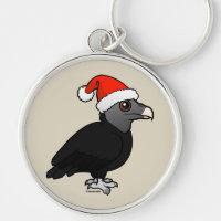 Christmas Black Vulture Santa Premium Round Keychain
