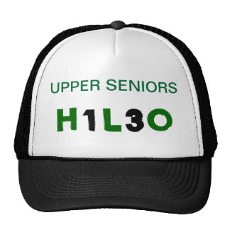 black w/green writing trucker hat