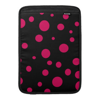 Black w Hot Red Pink Polka Dots Customizable Sleeves For MacBook Air