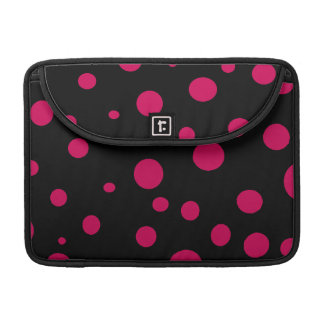 Black w Hot Red Pink Polka Dots Customizable Sleeves For MacBooks