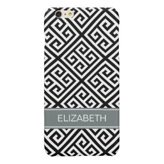 Black W Med Greek Key DiagT Charcoal Name Monogram Glossy iPhone 6 Plus Case