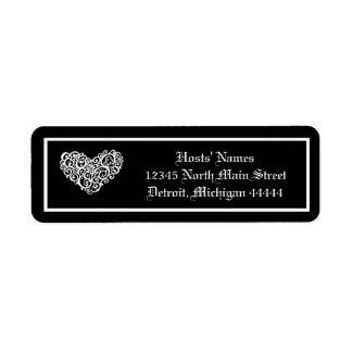 Black w/White Swirly Heart - Postage Stamp Label