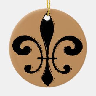 Black Washout Fleur De Lis Ceramic Ornament