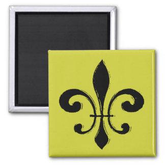 Black Washout Fleur De Lis Magnet