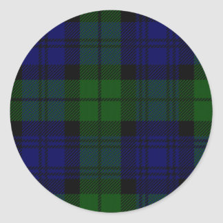 Black Watch clan tartan blue green plaid Classic Round Sticker