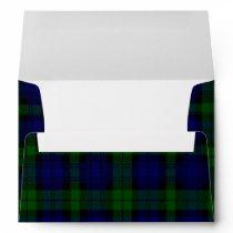 Black Watch clan tartan blue green plaid Envelope