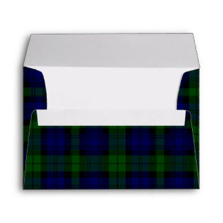 Black Watch clan tartan blue green plaid Envelope