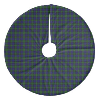Black Watch clan tartan blue green plaid Fleece Tree Skirt