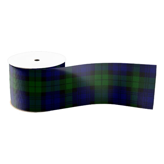 Black Watch clan tartan blue green plaid Grosgrain Ribbon