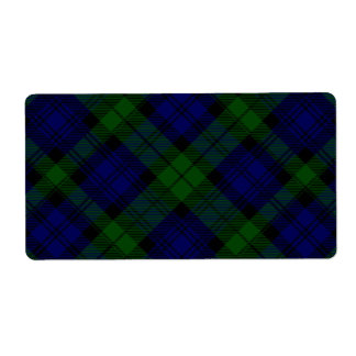 Black Watch clan tartan blue green plaid Label