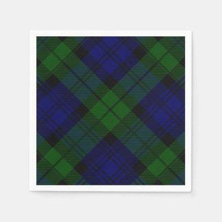 Black Watch clan tartan blue green plaid Paper Napkin