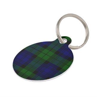 Black Watch clan tartan blue green plaid Pet ID Tag