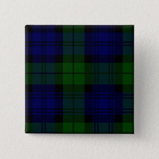 Black Watch clan tartan blue green plaid Pinback Button