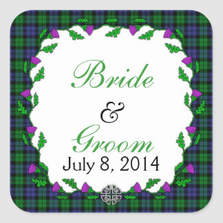 Black Watch Military Celtic Wedding Favor Square Sticker