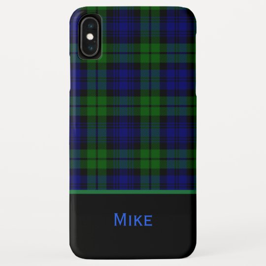 sneakers for cheap e1392 378f6 Black Watch Plaid Monogrammed iPhone XS Max Case