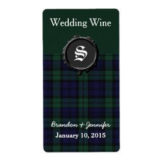 Black Watch Plaid Wedding Mini Wine Labels