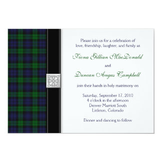Black Watch Scottish Tartan Wedding Invitation