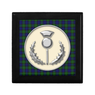 Black Watch Scottish Tartan with Thistle Emblem Jewelry Boxes