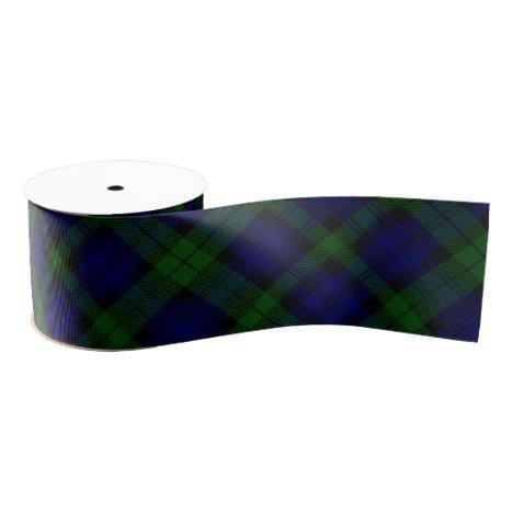 Black Watch Tartan Blue Green Plaid Grosgrain Ribbon