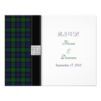 Black Watch Tartan Celtic Response Card Custom Invites