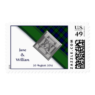 Black Watch Tartan Corner Personalized Wedding Postage