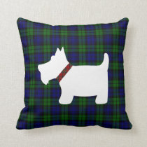 Black Watch Tartan Plaid and Scottie Dog Pillow