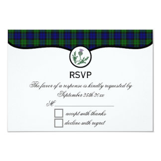 Black Watch Tartan Plaid and Thistle Wedding RSVP Card