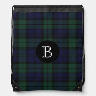 Black Watch Tartan Plaid Monogram Backpack