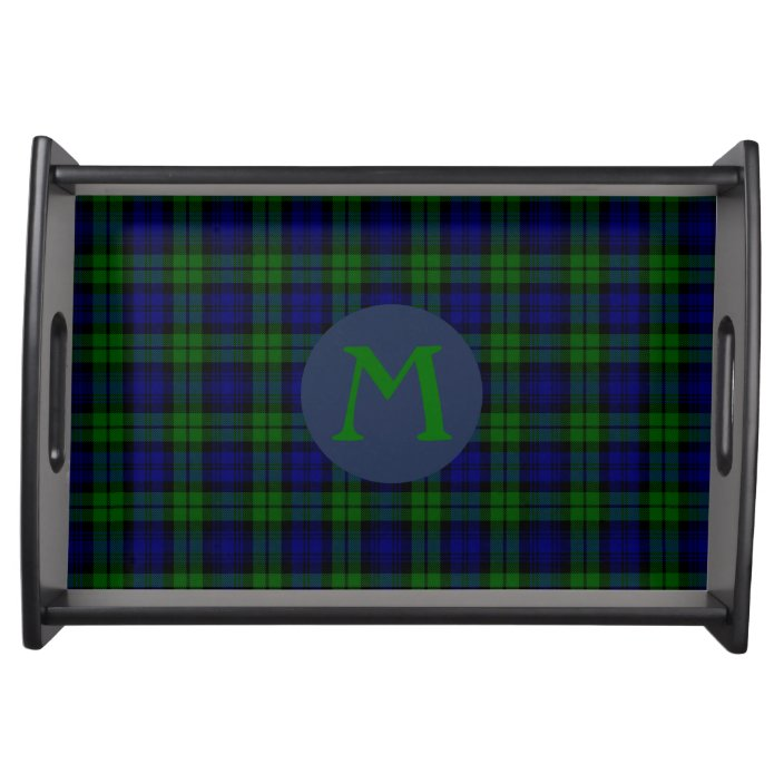 Black Watch Tartan Plaid Monogram Serving Tray Zazzle Com