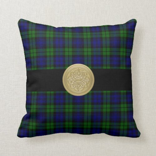 Black Watch Tartan Plaid Pillow with Celtic Knot