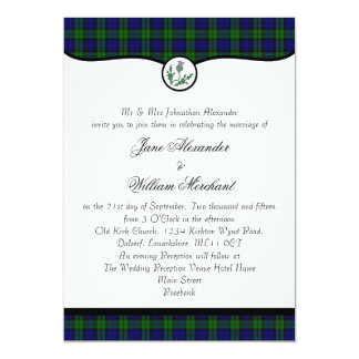 Black Watch Tartan Plaid & Thistle Wedding Invite