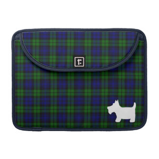 Black Watch Tartan Plaid with Scottie Dog Sleeve For MacBooks