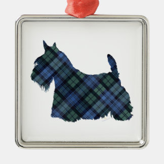 Black Watch Tartan Scottish Terrier Metal Ornament