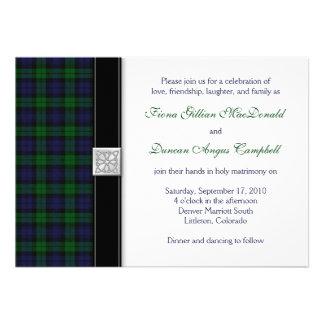Black Watch Tartan Wedding Invitation