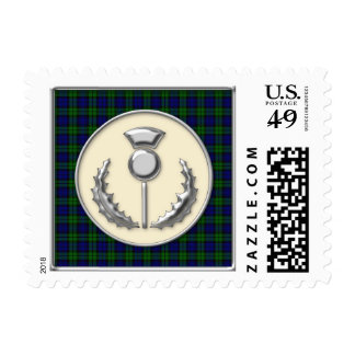 Black Watch Tartan with Silver Thistle Emblem Postage Stamp