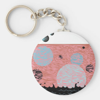Black water bubbles mystery planet chemical galaxy basic round button keychain