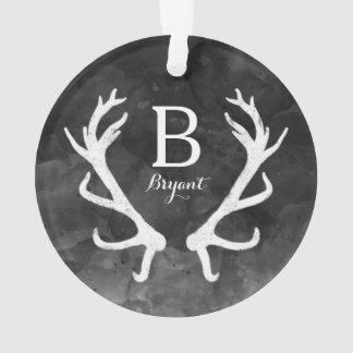 Black Watercolor and Rustic Deer Antlers Monogram