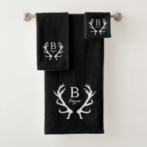 Black Watercolor and Rustic Deer Antlers Monogram Bath Towel Set